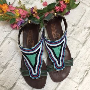 Pilolinos Green Leather Heavily Beaded Sandals